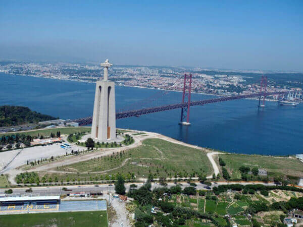 Christ the King in Almada and Tejo River